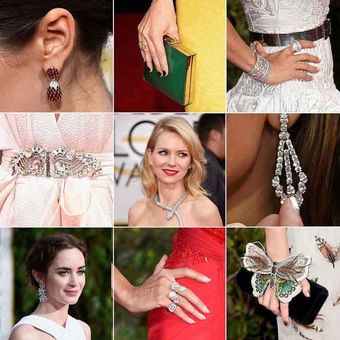diamond jewelry at the golden globes